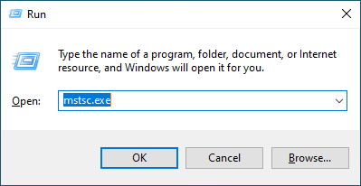 The run dialog, populated with mtsc.exe