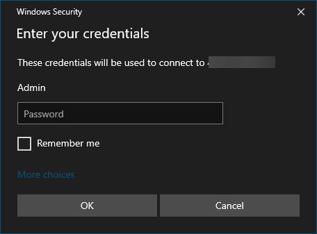 "Windows 10 RDP's ""Enter your credentials"" menu"