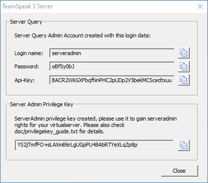 The Teamspeak 3 server window with login and API details