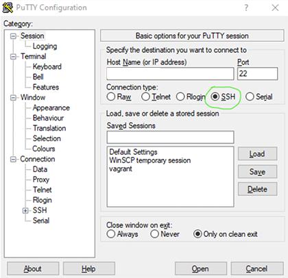 PuTTy's SSH option
