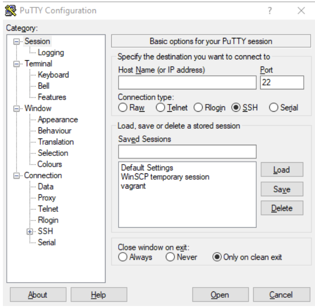 The PuTTy connection interface