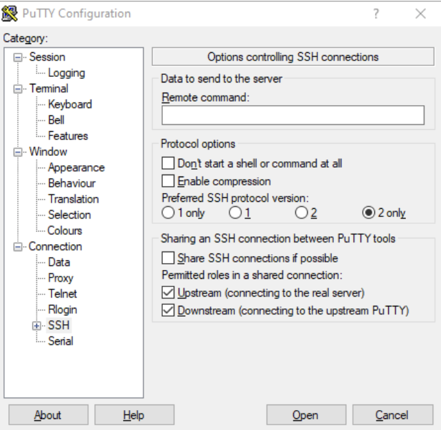 Configuration options for PuTTY