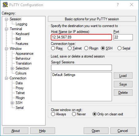 The PuTTy host name field, populated with an example IP address