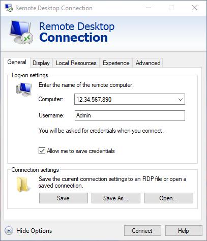 The Windows RDP interface