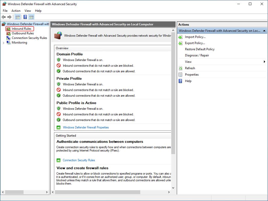 Windows Defender Firewall > Inbound rules