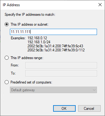 """The IP address window, with the """"The IP address or subnet"""" option ticked"""