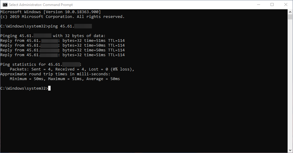 Command prompt output fro a successful ping of the server