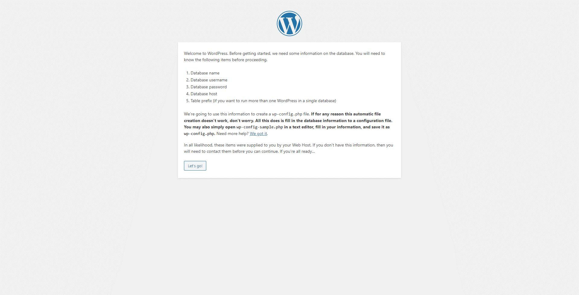 The WordPress installation welcome screen