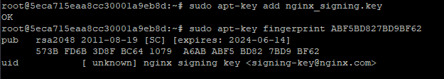 Command line returns: pub rsa2048 2011-08-19 [SC] [expires: 2024-06-14] 573B FD6B 3D8F BC64 1079 A6AB ABF5 BD82 7BD9 BF62