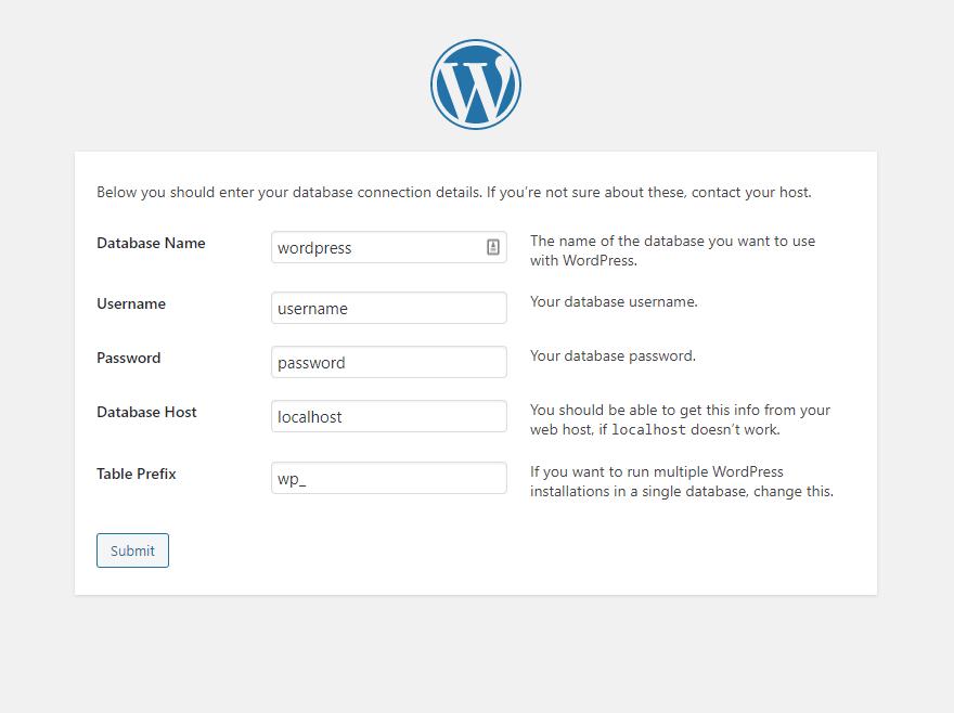 WordPress database setup screen