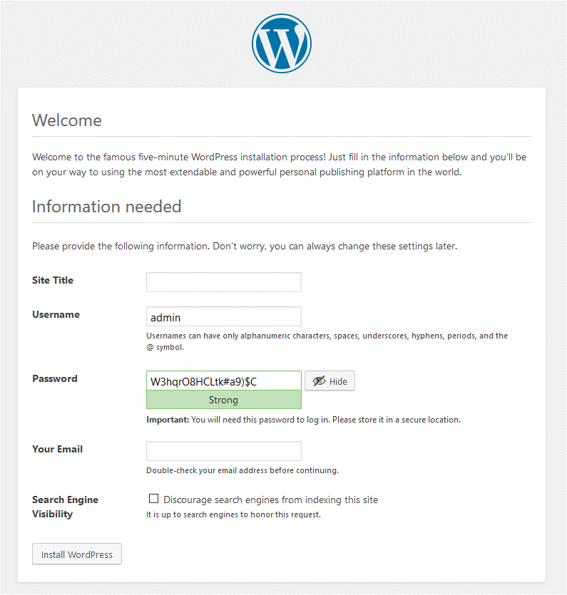 WordPress' account setup screen