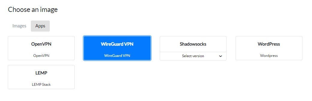 The app screen in the BitLaunch control panel, with WireGuard VPN selected