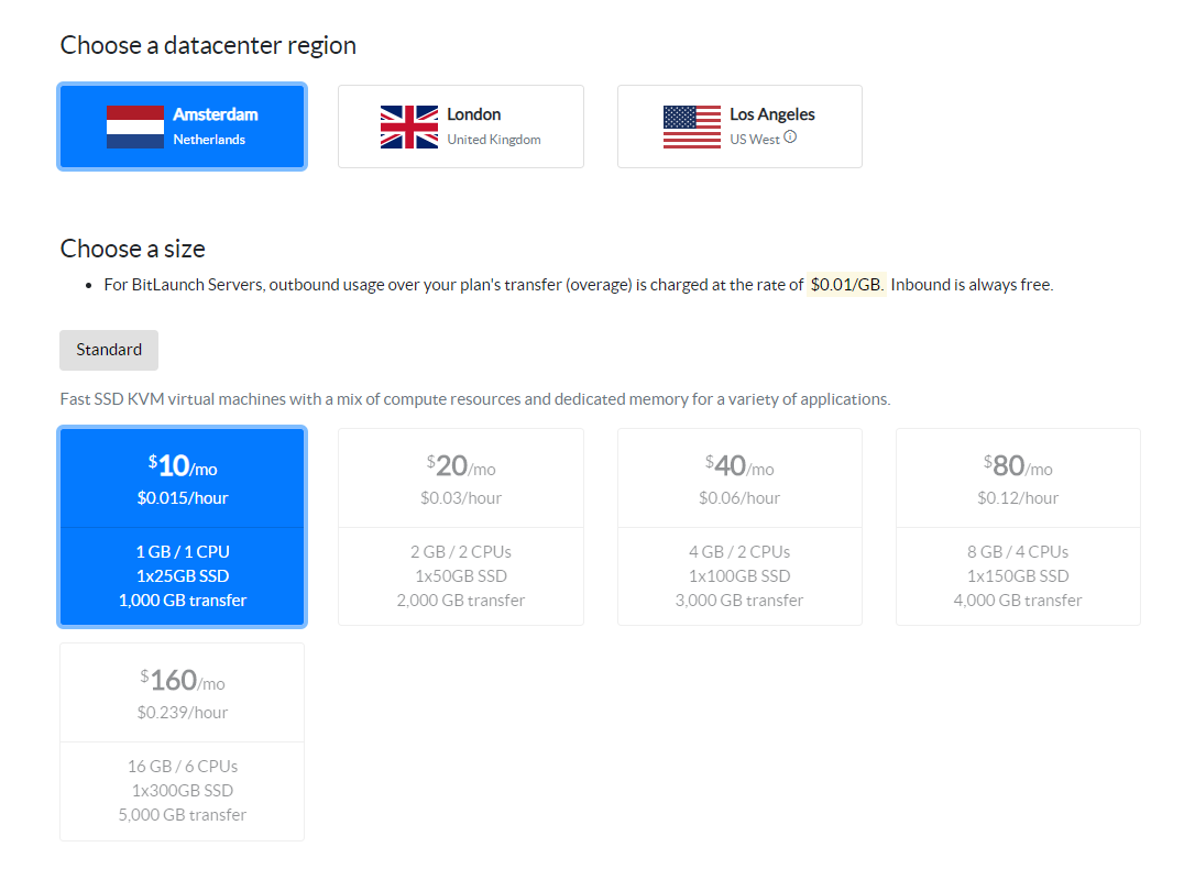 Selection of the Amsterdam datacenter region and $10 plan in the BitLaunch setup proccess