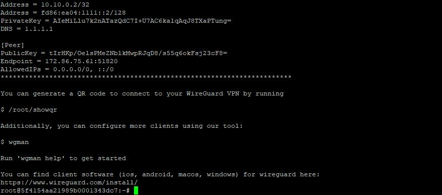 WireGuard welcome screen