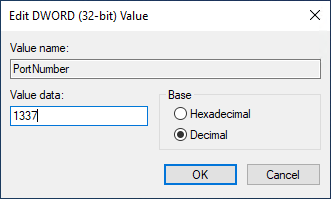 Edit DWORD interface with the value data 1337