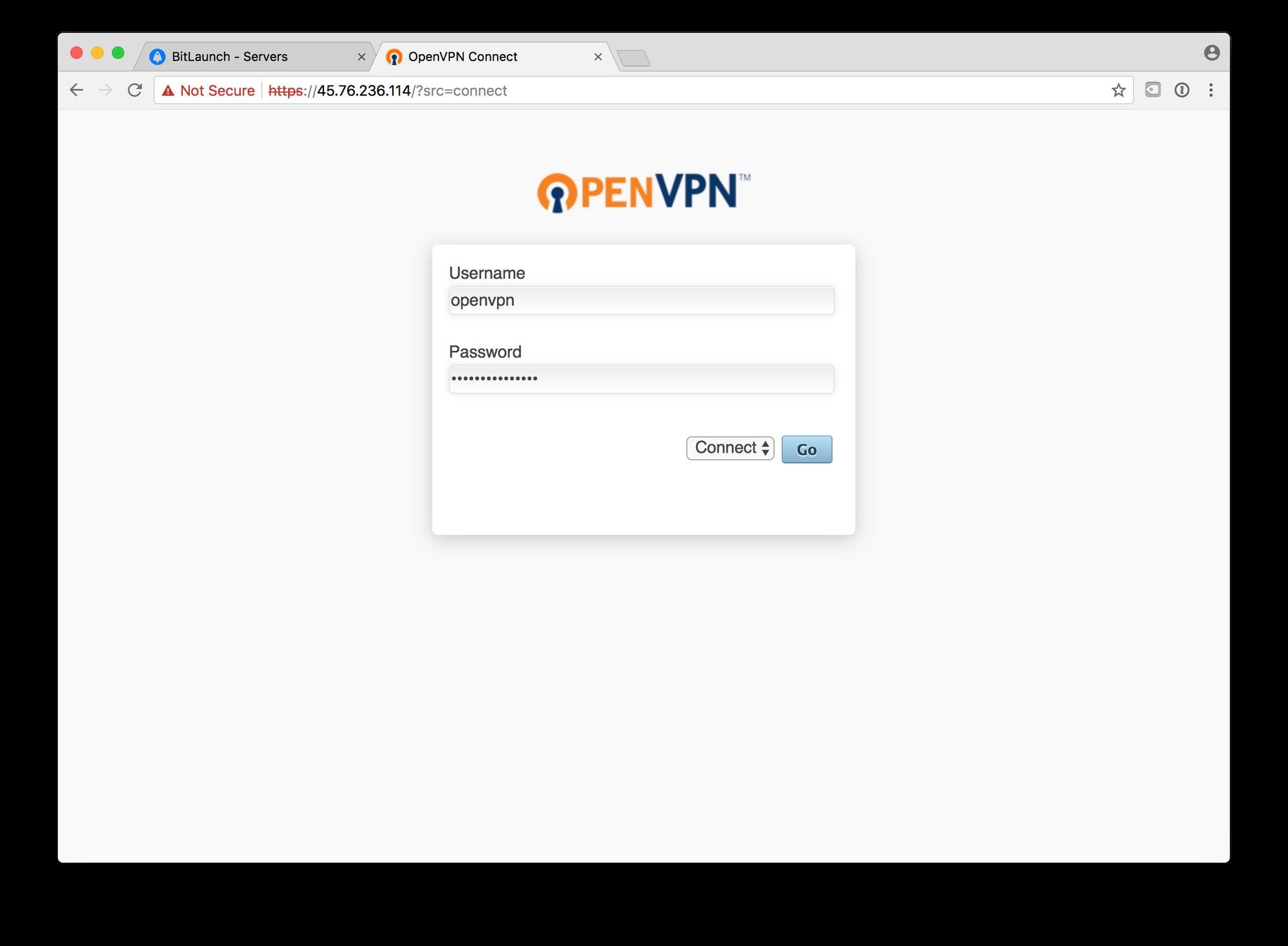 Bitlaunch Bitcoin VPN connect