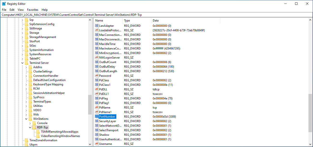 The registry editor with PortNumber selected