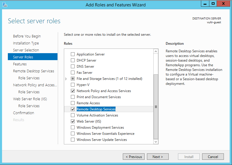 Roles and features wizard enable remote desktop services screen