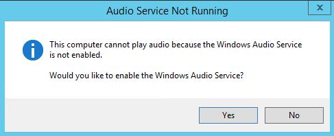 Audio Service Not running pop-up dialog