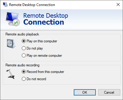 Remote Desktop Connection - Enable 'record from this computer'