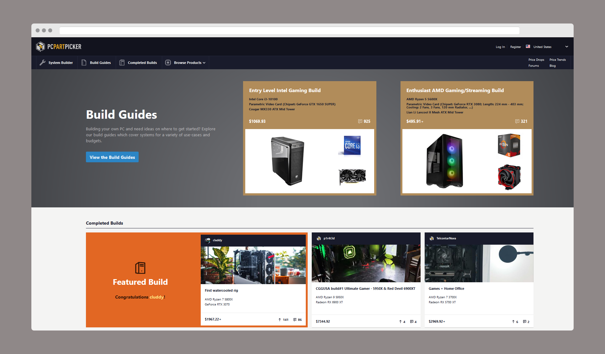 pcpartpicker homepage