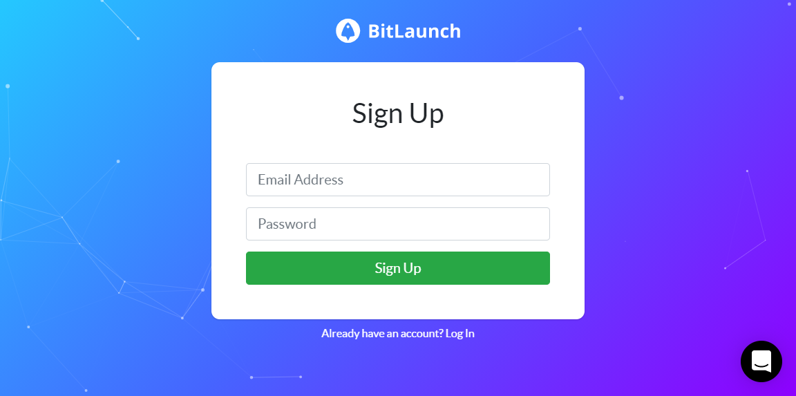 The BitLaunch signup screen