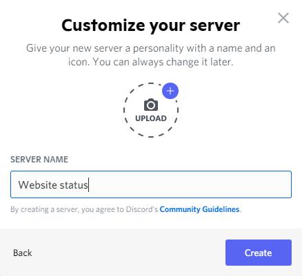 Discord server naming screen