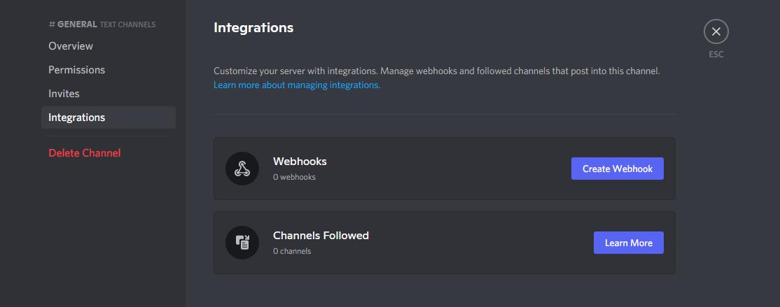Discord create webhook integration